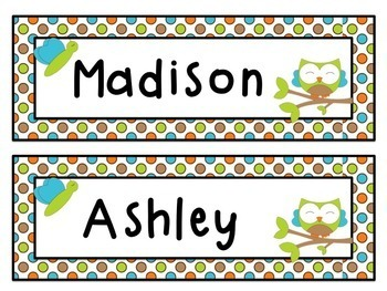 owl name labels editable name tags and locker tub labels tpt
