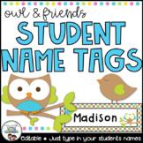 Owl Name Tags (Editable)