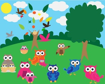 Owl and Nature Set Clipart -21 PNG Files-sun, cloud, tree