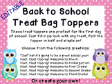 EDITABLE Owl and Polka Dot Back to School Treat Topper