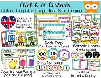 Owl and Polka Dots Classroom Decor {Editable}