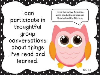 """Owl and Polka Dot Common Core """"I can"""" Statements for First Grade"""