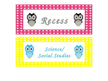 Owl and Polka Dot Daily Schedule