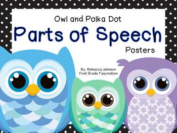 Owl and Polka Dot Parts of Speech posters