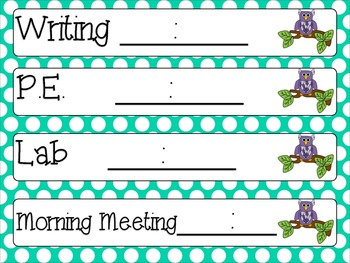 Owl and Polka Dot Schedule Cards