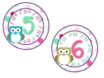Classroom Numbers 1-10 Owl and Polka Dot Theme