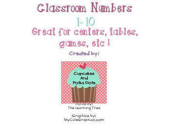 Classroom Numbers 1-10 Owl and Polka Dot Theme