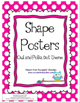Owl and Polka Dot Themed Shape Posters