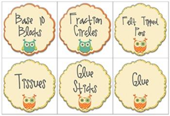 Owl and Polka Dots Themed Classroom Set
