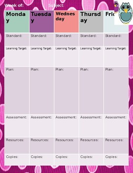 Owl and Polka Dots Weekly Lesson Plan Template
