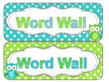 Owl and Polka Dots Word Wall Cards - Custom Order