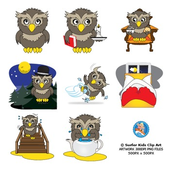 Owl at Home Clip Art Set