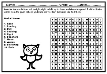 Owl at Home, Word Search, Grade 1, Literature Vocabulary Sub Plan
