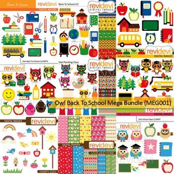 Owl back to school clip art Mega Bundle (9 packs)