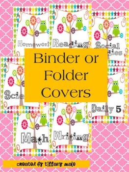 Owl binder or folder covers