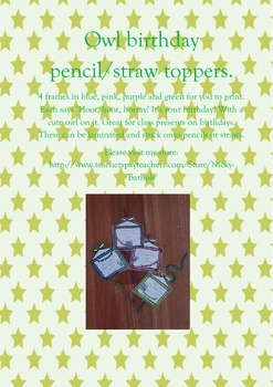 *Owl birthday pencil/straw toppers*