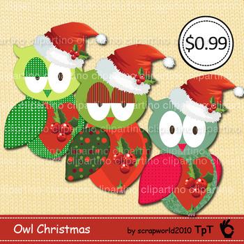 Owl christmas/winter santa hat clipart vector graphics Bundle