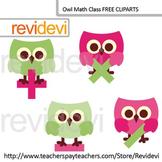 Owl clip art / Cute owl math class clipart (set of 4) pink