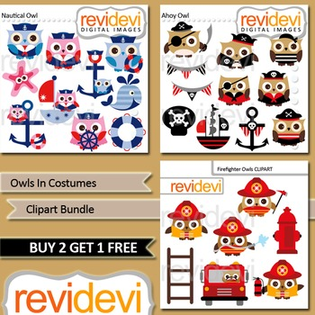 Owl clip art bundle (3 packs) pirate, nautical, firefighter, clipart by Revidevi