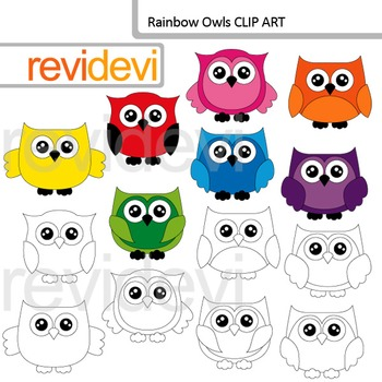 Owl clipart: Rainbow owls - commercial use