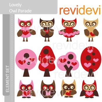 Valentine clip art: Owls in red brown