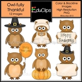 'Owl-fully Thankful' Owls Clip Art {Educlips Clipart}