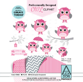 Owl girl clipart pink and gray with pink hat