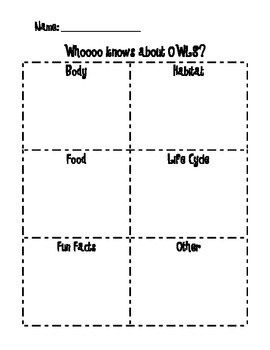 Owl graphic organizer for Pebblego