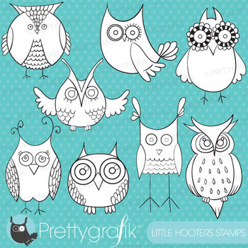 Owl hoot stamps commercial use, vector graphics, images - DS325