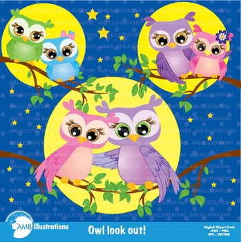 Clipart, Owl clipart, Owls at night clip art, Digital download, AMB-271
