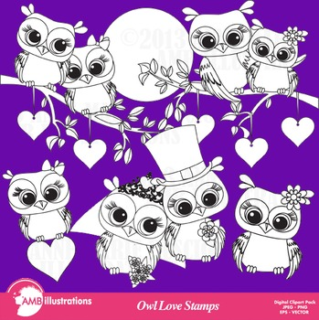 Clipart, Digital Stamps, Owl love owl digital stamps, Black Line, AMB-369