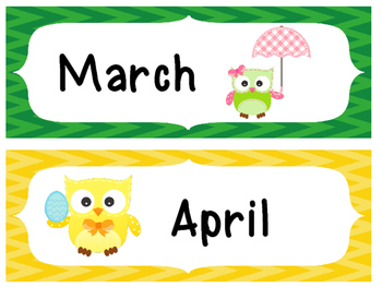 Owl monthly calendar labels