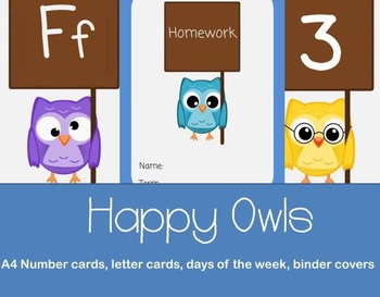 *UPDATE* Owl flash cards BUNDLE  numbers, letter & binder covers
