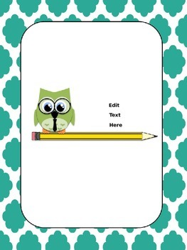 Owl on pencil binder cover sheets