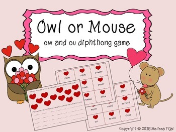 Owl or Mouse Diphthong Game ow, ou