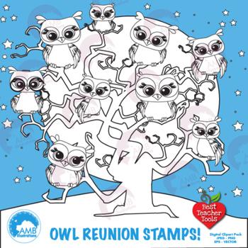 Clipart, Digital Stamps, Owl digital outlines, black line, AMB-186