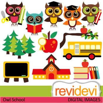 Owl school clip art (back to school clipart) teacher resource digital graphics