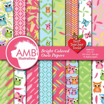 Digital Papers, Owl scrapbook papers and backgrounds AMB-453