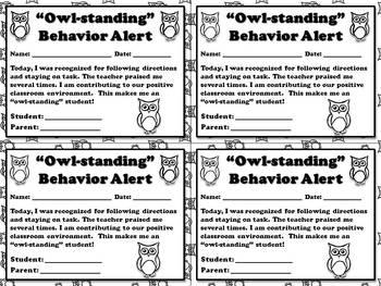 """Owl-standing"" Behavior Alert - Positive Student Behavior Note for Parents"