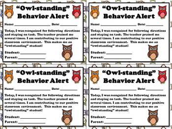 """Owl-standing"" Behavior Alert - Positive Student Behavior"