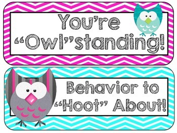 "Owl Themed ""Owl"" standing Behavior Clip Chart & Certificates"