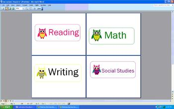 Owl subject header labels