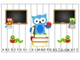 Owl themed Alphabet Sequence Puzzle.  Preschool Alphabet learning game.