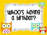 Owl theme Birthday Board