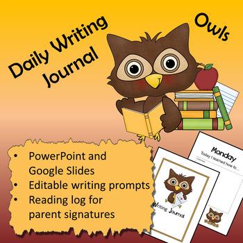 Owl theme - Daily Writing Journal