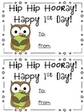 Owl theme - First day of school card - Back to School