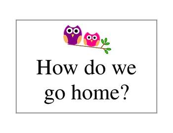 Owl theme, How Do we go home? Clip chart