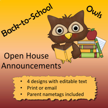 Owl theme - Open House Announcements and Parent Nametags
