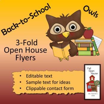 Owl theme - Open House Flyer / 3-fold Brochure