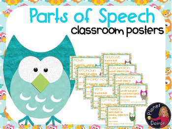 Owl theme Parts of Speech wall posters Grammar